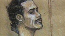 Michael Erin Briscoe is shown in a court sketch.
