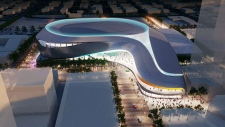 Exterior aerial view of the proposed downtown arena at night from the south. Supplied. May 16.