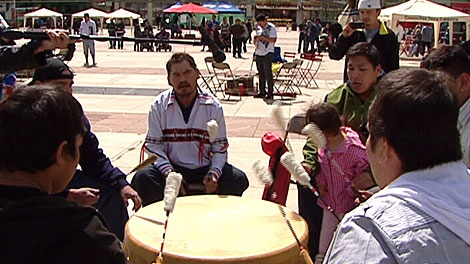 Hundreds from Edmonton's aboriginal community are honouring children in care at Churchill Square this weekend. May 19.