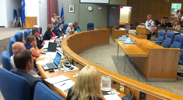 Embattled high school teacher Lynden Dorval addresses Edmonton Public School Board trustees, in a meeting called to address their controversial 'no-zero' policy. Tuesday, June 26.