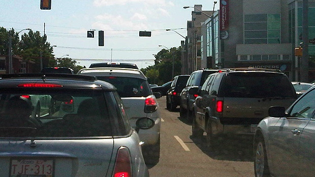 Traffic was backed up at the intersection of 109 St. and Whyte Ave. on Monday, July 9 - after a rolling blackout knocked out power to the traffic lights.