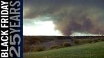 Photograph of the tornado near Refinery Row (east industrial area). Photo: Atlas of the Edmonton Tornado