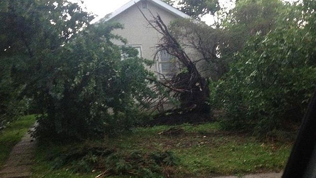Residents in Tofield are now dealing with the aftermath of a severe storm that rolled in late Monday. Courtesy Facebook user Sonia Hrabec