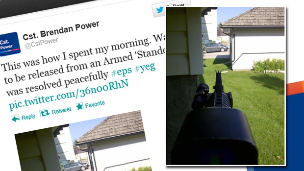A composite image shows the tweet and picture posted online by Cst. Brendan Power on Saturday, July 28.