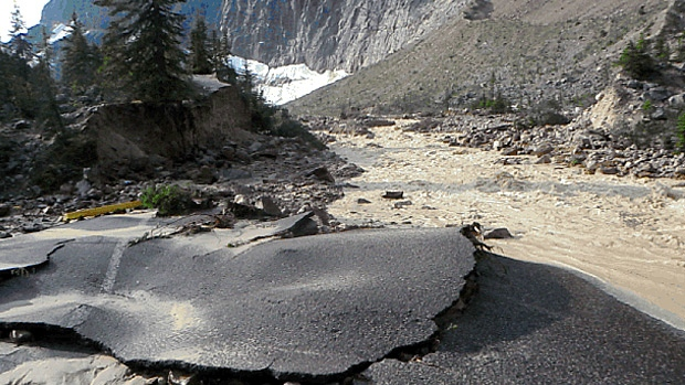 An icefall caused flooding to parking lots, outhouses, roads and trails in the area of Mt. Edith Cavell in Jasper National Park early Friday morning.