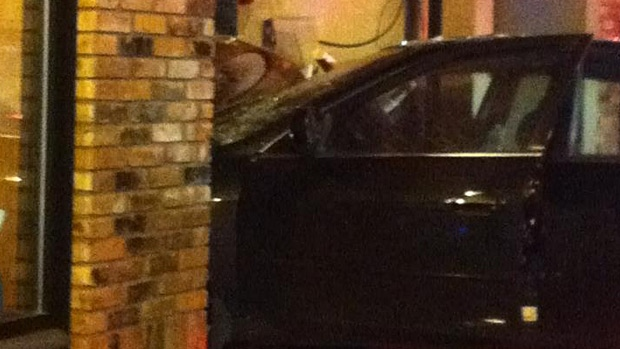 A car drove through the front window of Opa! Greek restaurant on Whyte Avenue early Sunday morning. PHOTO: Randi Adams.