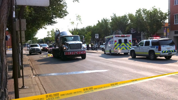 Police and EMS on the scene of a fatal accident that left a cyclist dead on Whyte Ave. near 101 St. on Monday, August 27.