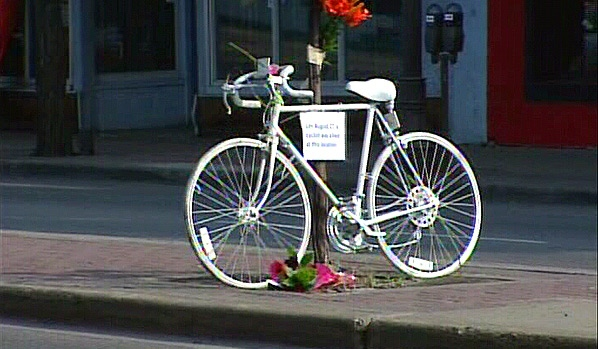 A 'ghost bike' was placed near to where a 21-year-old male cyclist was struck and killed by a concrete mixer truck on Monday, August 27.