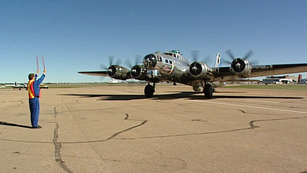 One of the most recognizable airplanes from World War II touched down at the City Centre Airport on Thursday. The plane will be on display at the Alberta Aviation Museum over the weekend.
