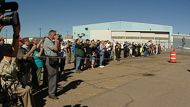 Dozens of aviation fans gathered to watch as a World War II-era plane touched down in Edmonton on Thursday. The plane will be on display at the Alberta Aviation Museum over the long weekend.