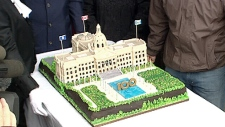 100th birthday cake for the Alberta Legislature building.