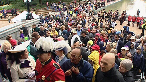 Hundreds of people took part in the 100th birthday celebrations for the Alberta Legislature building on Sunday.