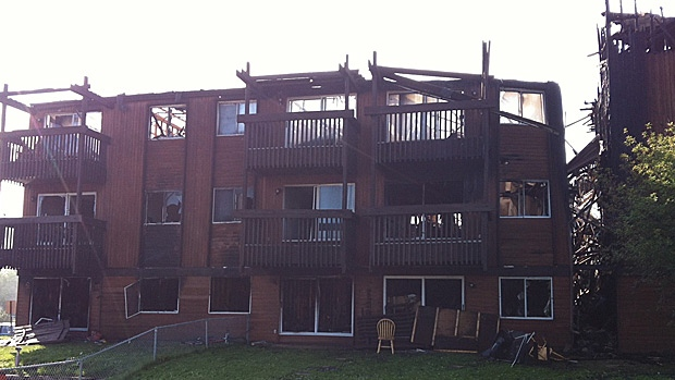 The aftermath of the fire at 200 Signal Road in Fort McMurray.