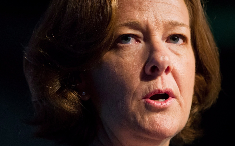 Alberta Premier Alison Redford speaks to the Canadian Bar Association's annual legal conference in Vancouver on Tuesday, Aug. 14, 2012. (Darryl Dyck / THE CANADIAN PRESS)