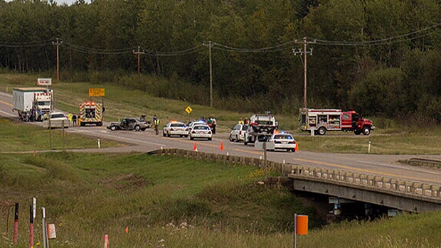 Boyle RCMP say it appears driver error may be to blame in a crash that killed two people and injured two others – including a young boy – on Highway 63. PHOTO: Ian Wills.