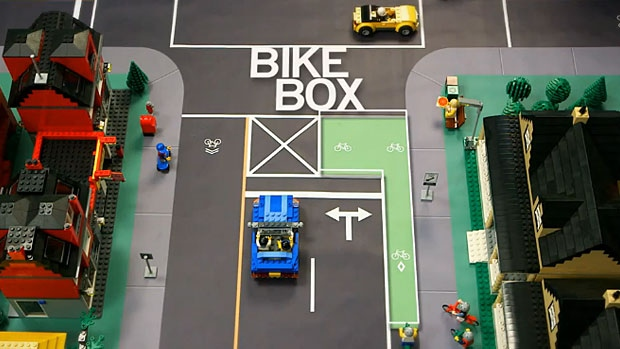 An illustration showing how a bike box intersection works - from a City of Edmonton instructional video.