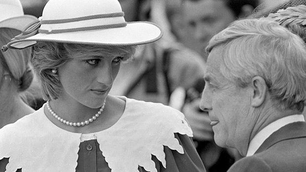 Diana, Princess of Wales looks at Premier Peter Lougheed of Alberta at Edmonton City Hall after the royal couple arrived June 29, 1983, on the last leg of their Canadian 18-day tour. Prince Charles will take part in the opening ceremonies of the XII World University Games July 1, and then they head home to London, Eng.(CP PHOTO/Andy Clark)