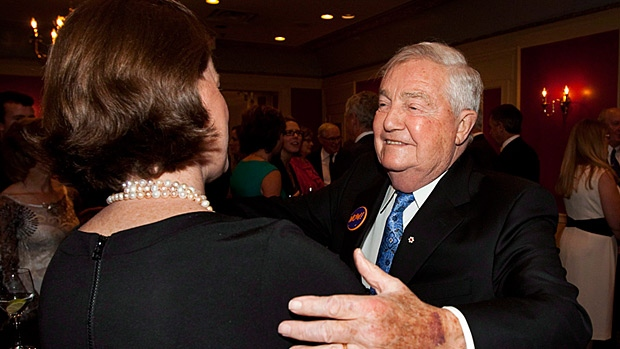 Former Alberta Premier Peter Lougheed, right, greets current Premier Alison Redford at a tribute dinner to the former politician, who is 84, in Calgary, Alta., Wednesday, June 6, 2012.THE CANADIAN PRESS/Jeff McIntosh