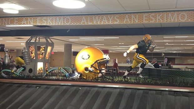 An Edmonton Eskimos-themed carousel is unveiled at the Edmonton International Airport. PHOTO: Edmonton Eskimos.