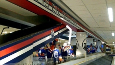 An Edmonton Oilers-themed carousel is unveiled at the Edmonton International Airport.