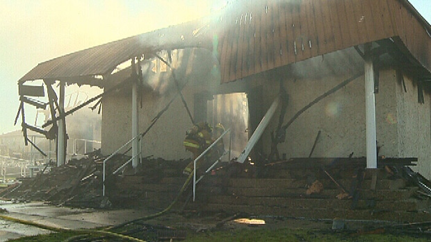 A fire tore through the Morinville Baptist Church overnight. Fire crews say the building will need to be torn down and rebuilt completely.