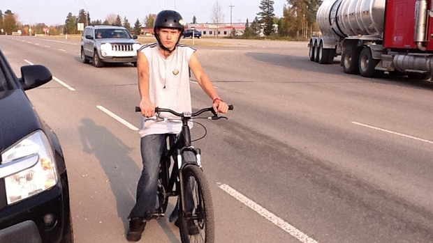 Alex Westfal, 16, is cycling from Edson to Edmonton to raise money and awareness for the Stollery Children's Hospital. PHOTO: The Eagle Radio