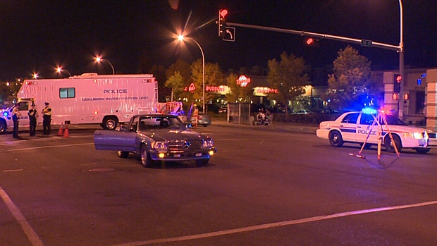 The scene of a collision at 112 Street and 104 Avenue early Sunday morning.