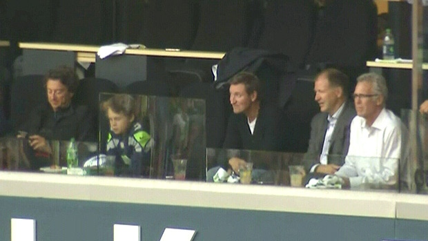 Oilers owner Daryl Katz (far left) watched the Seattle Seahawks beat the Greenbay Packers at CenturyLink Field in Seattle on Monday, September 24 - with him were three former Oilers greats, Wayne Gretzky (centre), Kevin Lowe (centre right) and Craig MacTavish (right).