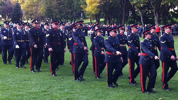 Officers march during the 14th annual Provincial Police and Peace Officers' Memorial Day honouring police and peace officers who have died in the line of duty in Alberta.