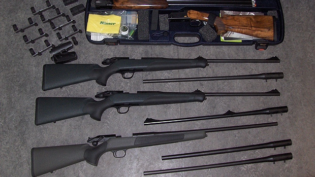 Firearms seized by Canadian Border Services Agency officers are shown in a supplied photo.